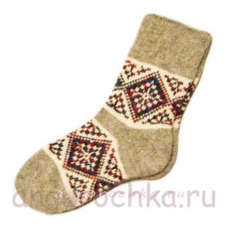 Теплые вязаные носки с орнаментом