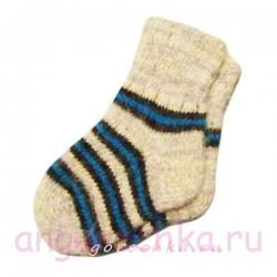 Детские вязаные шерстяные носки в полоску