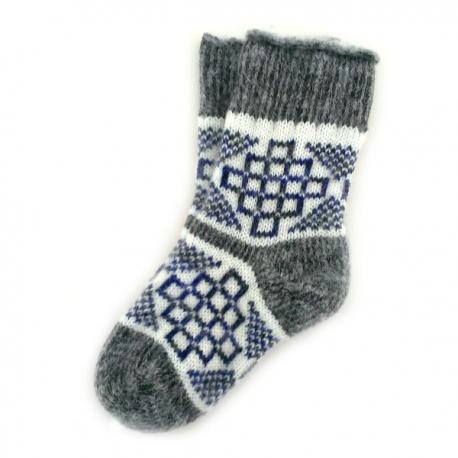 Детские шерстяные носки с синим рисунком
