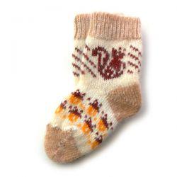 Детские шерстяные носки с рисунком-белкой