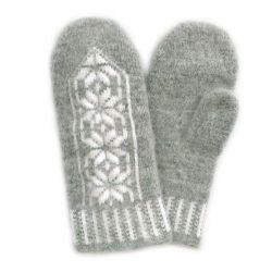 Серые шерстяные варежки с орнаментом
