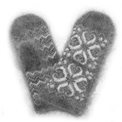 Серые шерстяные варежки с пухом