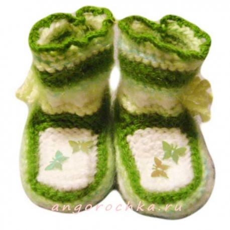 Детские вязаные пинетки - ботиночки