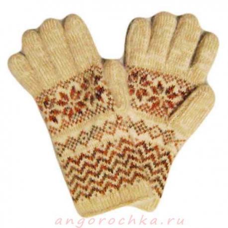 Вязаные шерстяные перчатки с орнаментом
