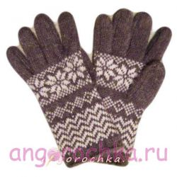 Серые вязаные шерстяные перчатки с белым орнаментом