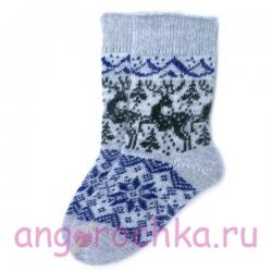 Серые шерстяные носки с оленями