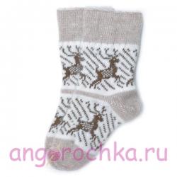 Двухцветные вязаные носки с оленями