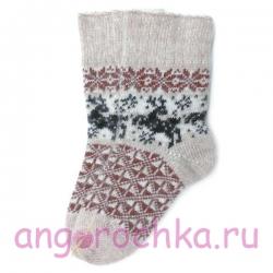 Бежевые вязаные носки с оленями
