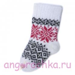 Женские шерстяные носки с красными снежинками