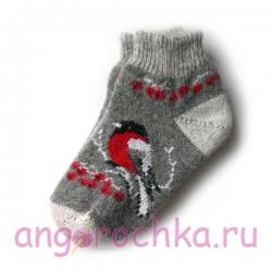Короткие шерстяные носки со снегирями