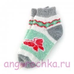 Короткие женские шерстяные носки с бабочкой