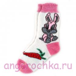 Женские шерстяные носки с розовым зайчиком
