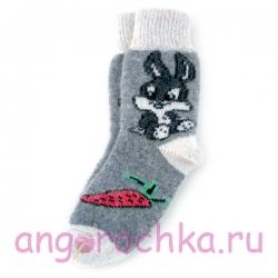 Женские шерстяные носки с серым зайчиком