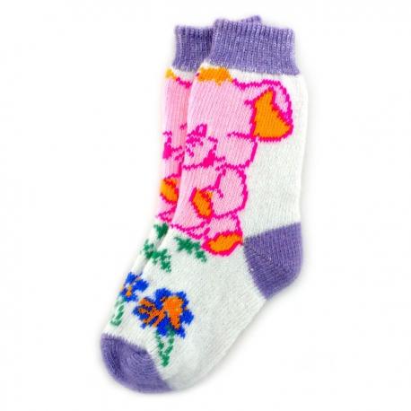 Женские шерстяные носки с розовым слоником