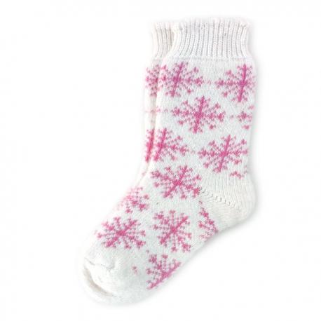Женские шерстяные носки с розовыми снежинками