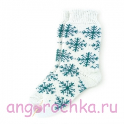 Женские шерстяные носки с зелеными снежинками