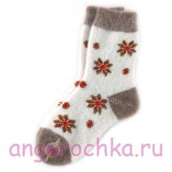 Женские шерстяные носки с рисунком - ромашками