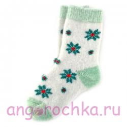 Женские  шерстяные  носки с зелеными ромашками