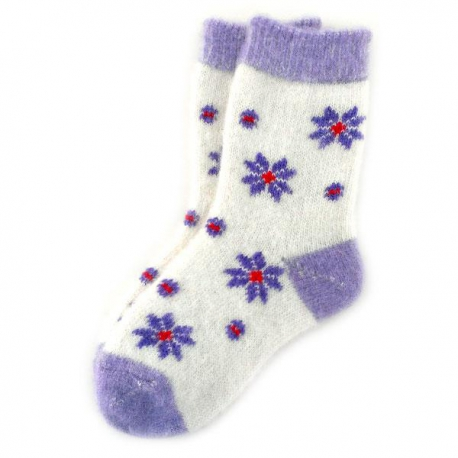 Женские  шерстяные  носки с фиолетовыми ромашками