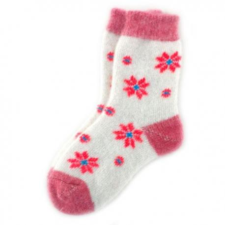 Женские  шерстяные  носки с красными ромашками
