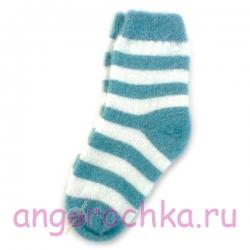 Женские шерстяные носки в бирюзовую полоску