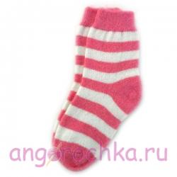 Женские шерстяные носки в розовую полоску