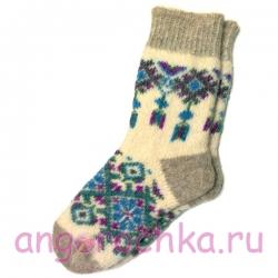 Женские вязаные носки с синим узором