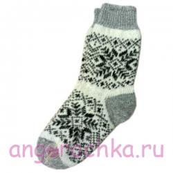 Женские вязаные носки серые