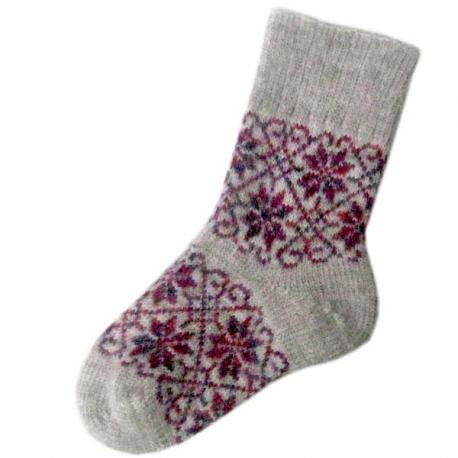 Женские шерстяные носки серого цвета с цветочным узором
