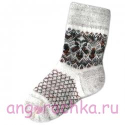 Женские вязаные носки серые с красным рисунком