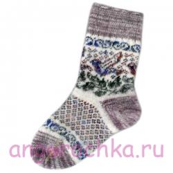 Женские вязаные носки с синей птицей