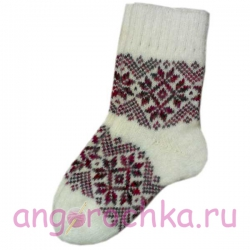 "Женские теплые носки с узором ""снежинки"""