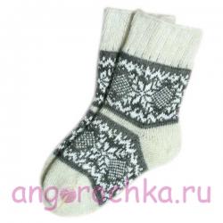 Женские шерстяные носки с зимним узором