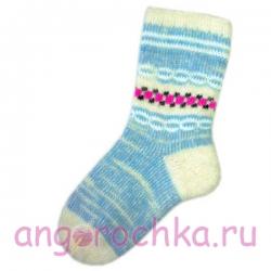 Женские шерстяные носки голубого цвета