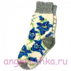 Женские шерстяные носки с  яркими синими цветами