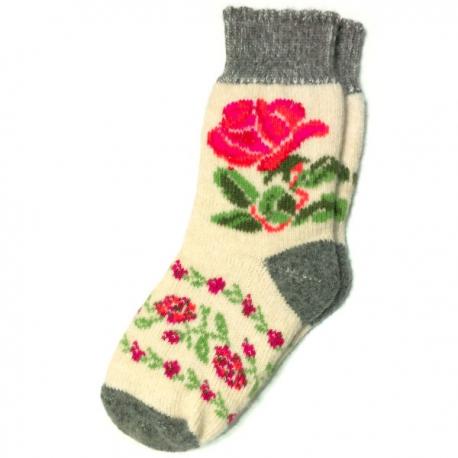 Женские шерстяные носки с яркой розой