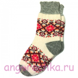 Теплые женские носки с розовым узором