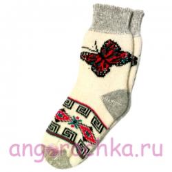 Женские зимние носки с красной бабочкой