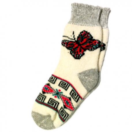 Теплые  женские носки с пестрой бабочкой
