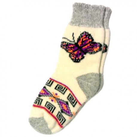 Теплые  женские носки с синей бабочкой