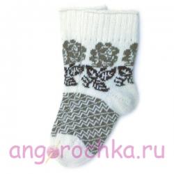 Женские вязаные шерстяные носки с цветочным орнаментом