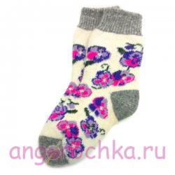 Вязаные шерстяные носки с  фиалками