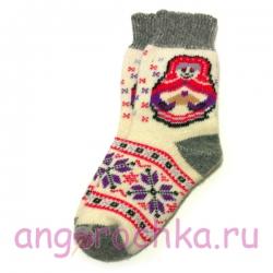 Женские вязаные  шерстяные носки с  матрешкой и снежинками