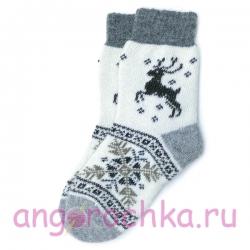 Шерстяные вязаные носки с оленем и снежинкой