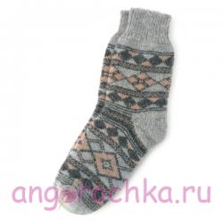 Серые шерстяные носки с орнаментом