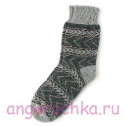 Серые шерстяные носки с полосками