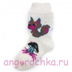 Детские безразмерные шерстяные носки с рисунком