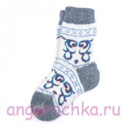 Детские вязаные безразмерные шерстяные носочки с рисунком