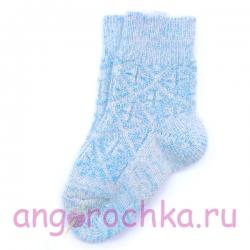 Детские шерстяные носки с голубым орнаментом