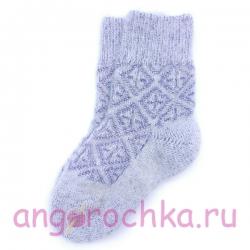 Детские шерстяные носки с фиолетовым орнаментом